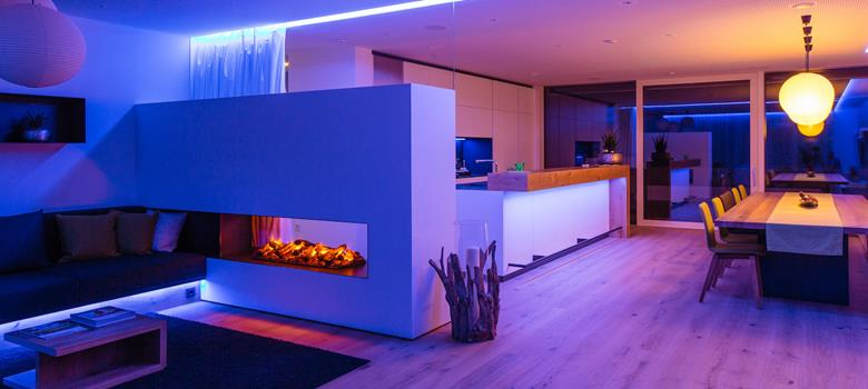 Blue Smart Lighting in home