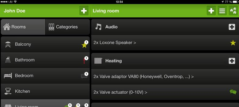 loxone app showing audio settings